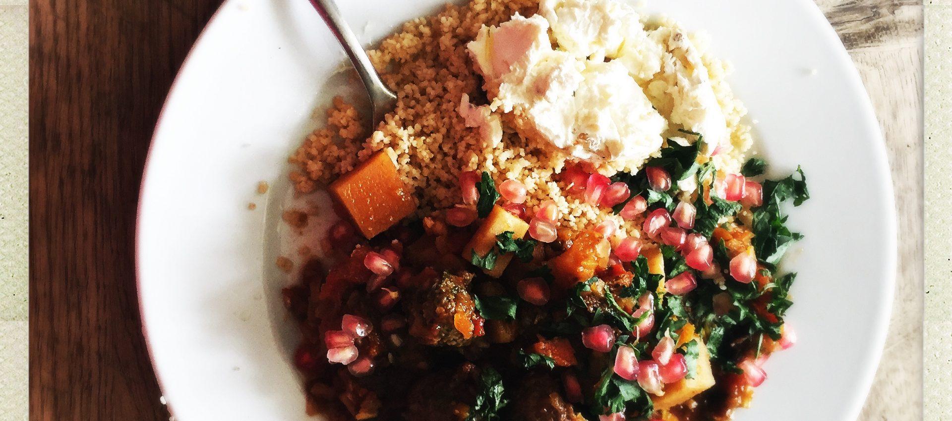 Winter veg casserole with labneh