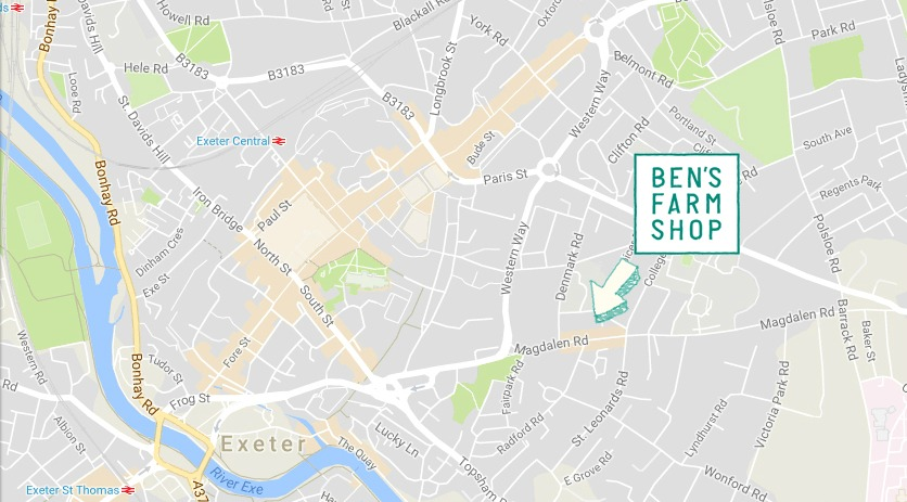 Map showing location of Ben's Farm Shop at 57 Magdalen Road, Exeter, EX2 4TA