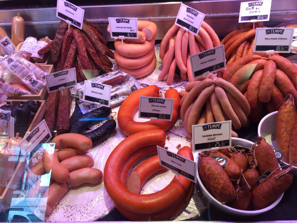 Smoked German sausages in a butcher's counter