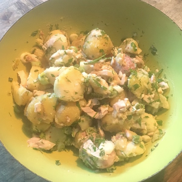 smoked chicken and potato salad made with Bens Farm Shop smoked chicken